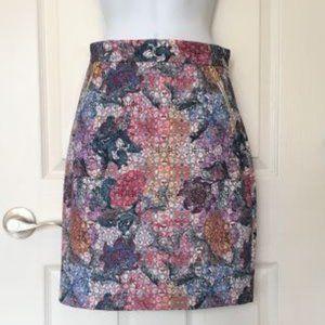 H&M Floral Print Skirt with Zipper Detail